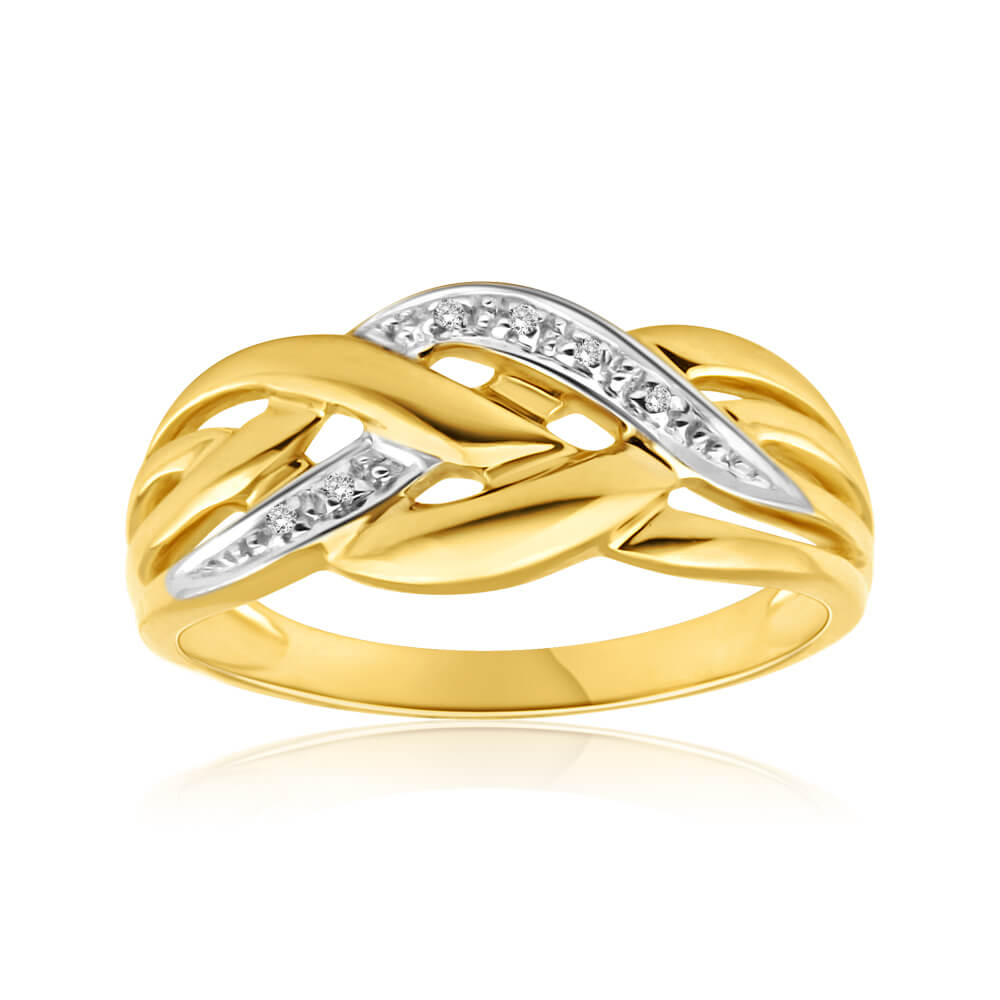 9ct Yellow Gold Diamond Ring  Set with 5 Brilliant Diamonds