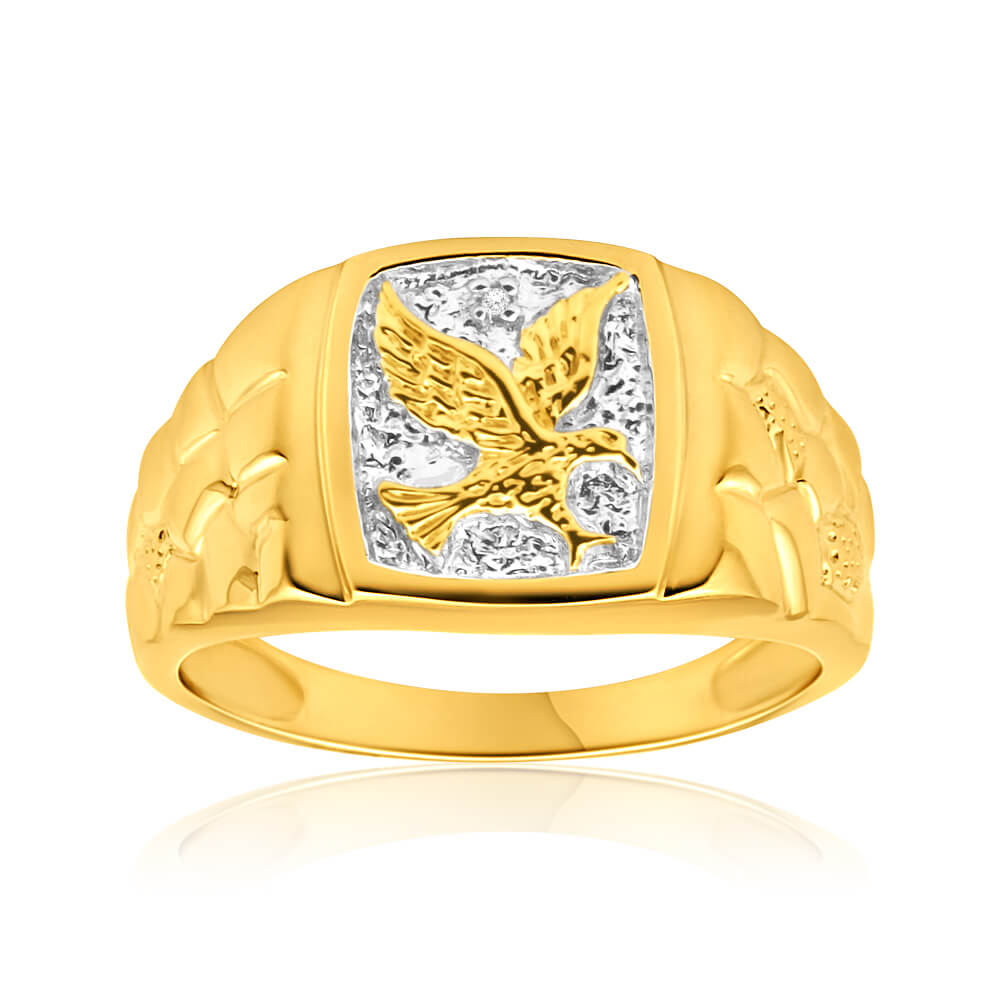 9ct Yellow Gold Eagle Nugget Diamond Ring