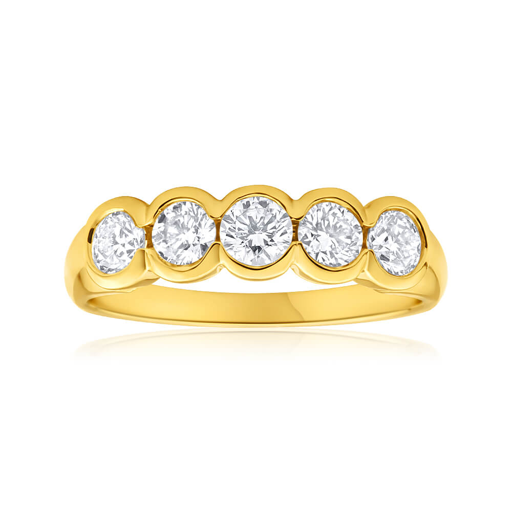 18ct Yellow Gold Ring With 1 Carat Of Bezel Set Diamonds