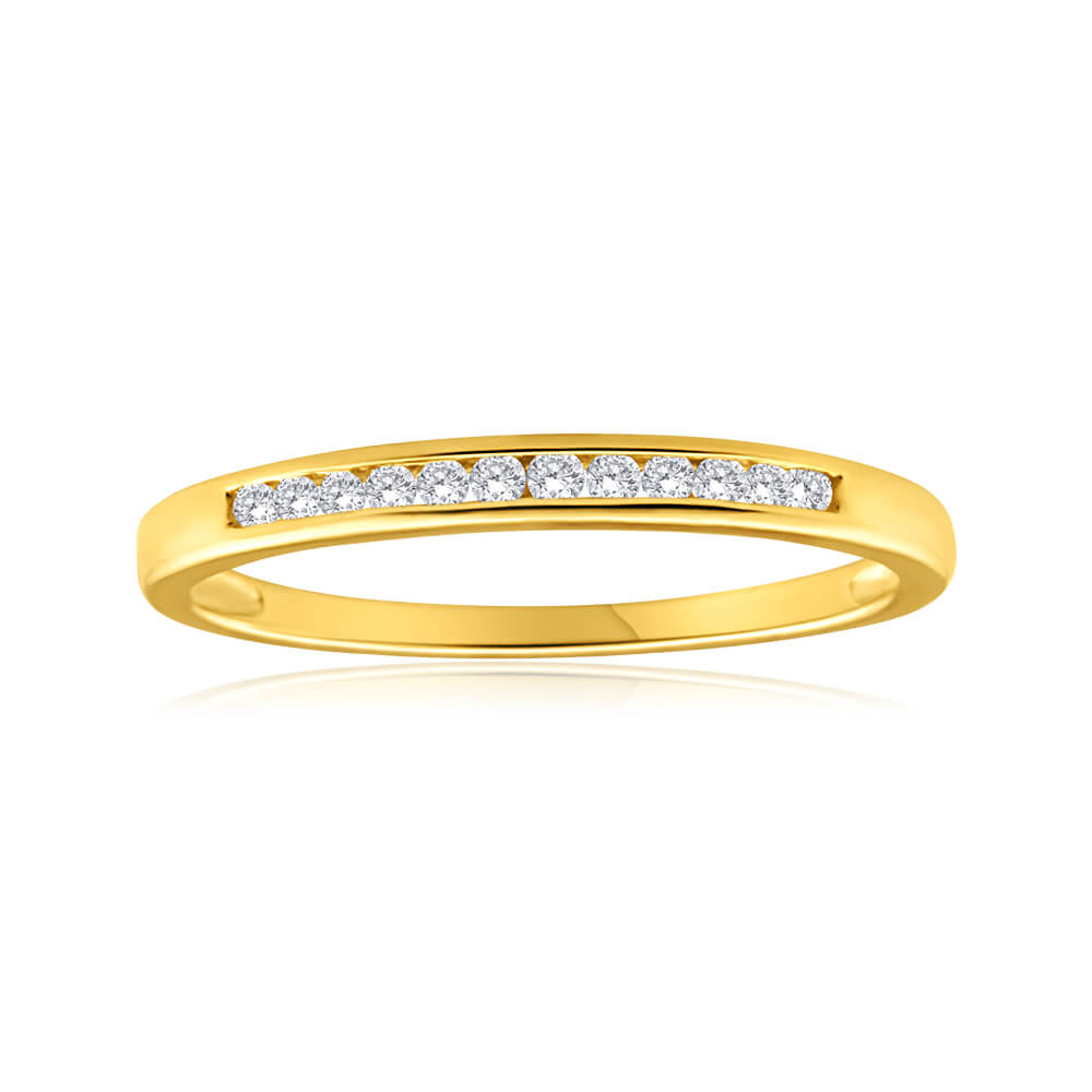 9ct Yellow Gold Diamond Ring Set with 12 Brilliant Diamonds