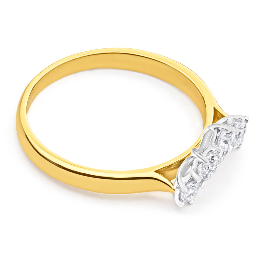 18ct Yellow Gold & White Gold 'Anise' Ring With 0.25 Carats Of Diamonds