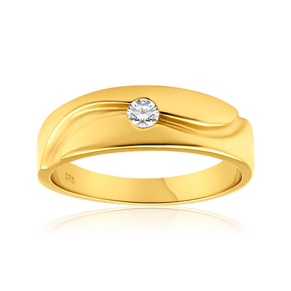 9ct Yellow Gold Gents Diamond Ring
