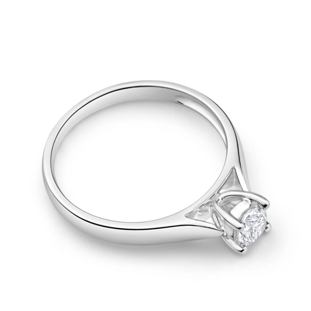 9ct White Gold Solitaire Ring With 0.30 Carat 4 Claw Set Diamond
