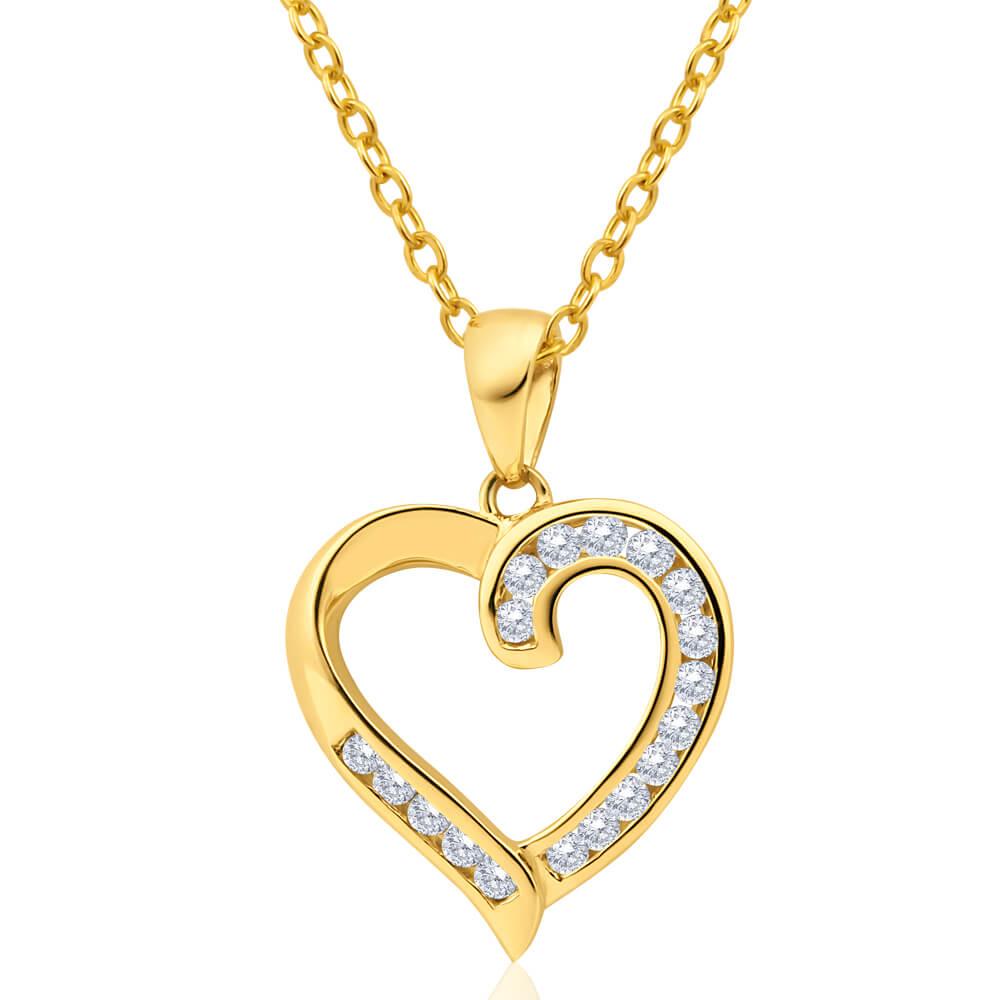 Australian Diamond 9ct Yellow Gold Diamond Heart Pendant