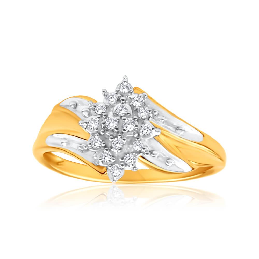 9ct Yellow Gold Diamond Ring Set With 16 Brilliant Cut Diamonds