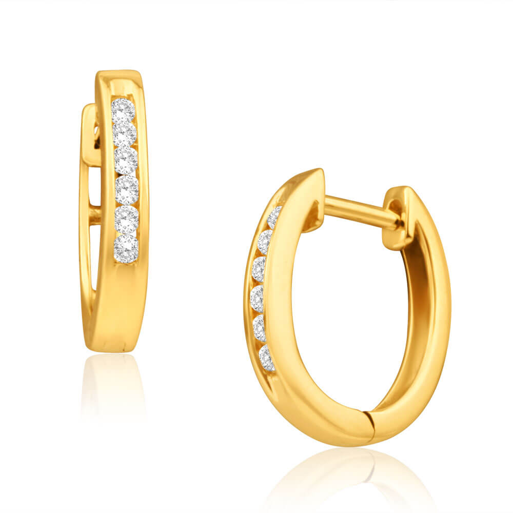 9ct Yellow Gold Splendid Diamond Hoop Earrings