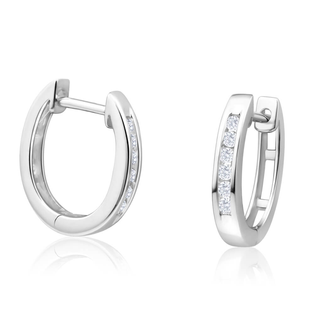 9ct Magnificent White Gold Diamond Hoop Earrings
