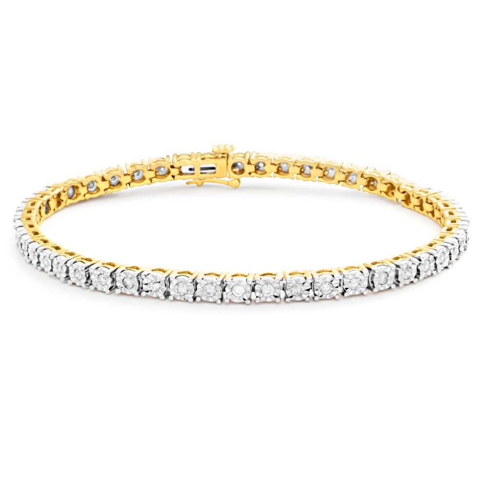 9ct Dazzling Yellow Gold 1 Carat Diamond 18cm Bracelet