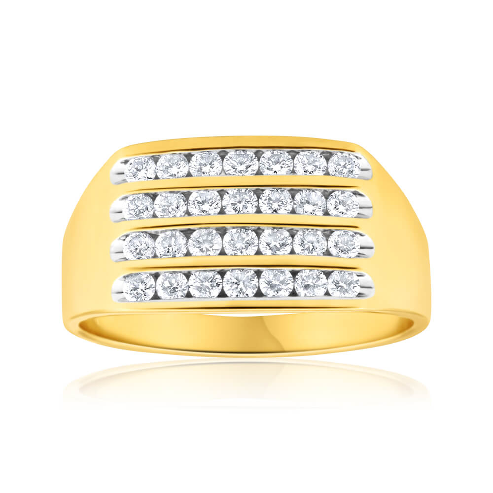 9ct Yellow Gold Diamond Ring Set With 28 Brilliant Cut Diamonds