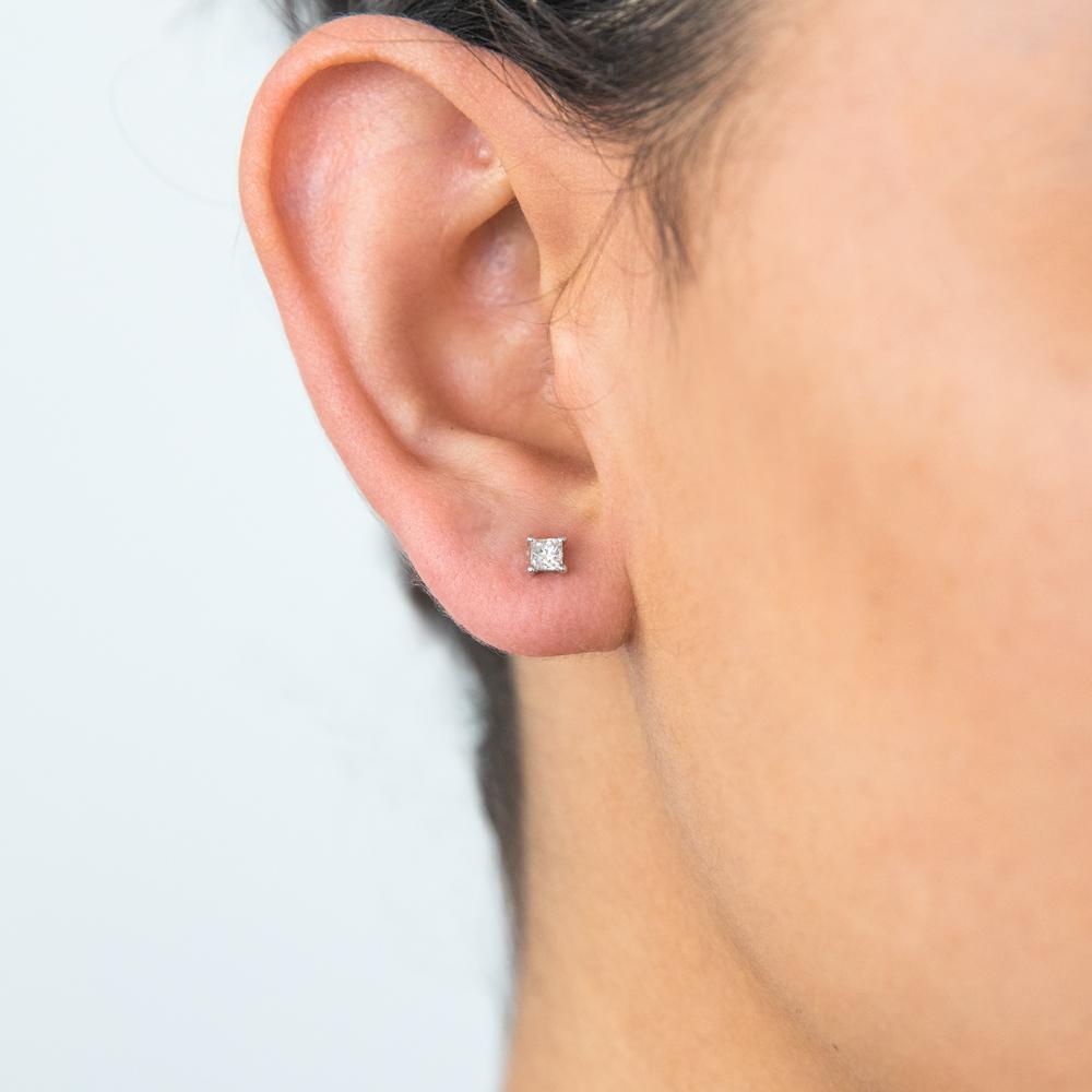 9ct White Gold Diamond Stud Earrings Set with 2 Beautiful Princess Cut Diamonds