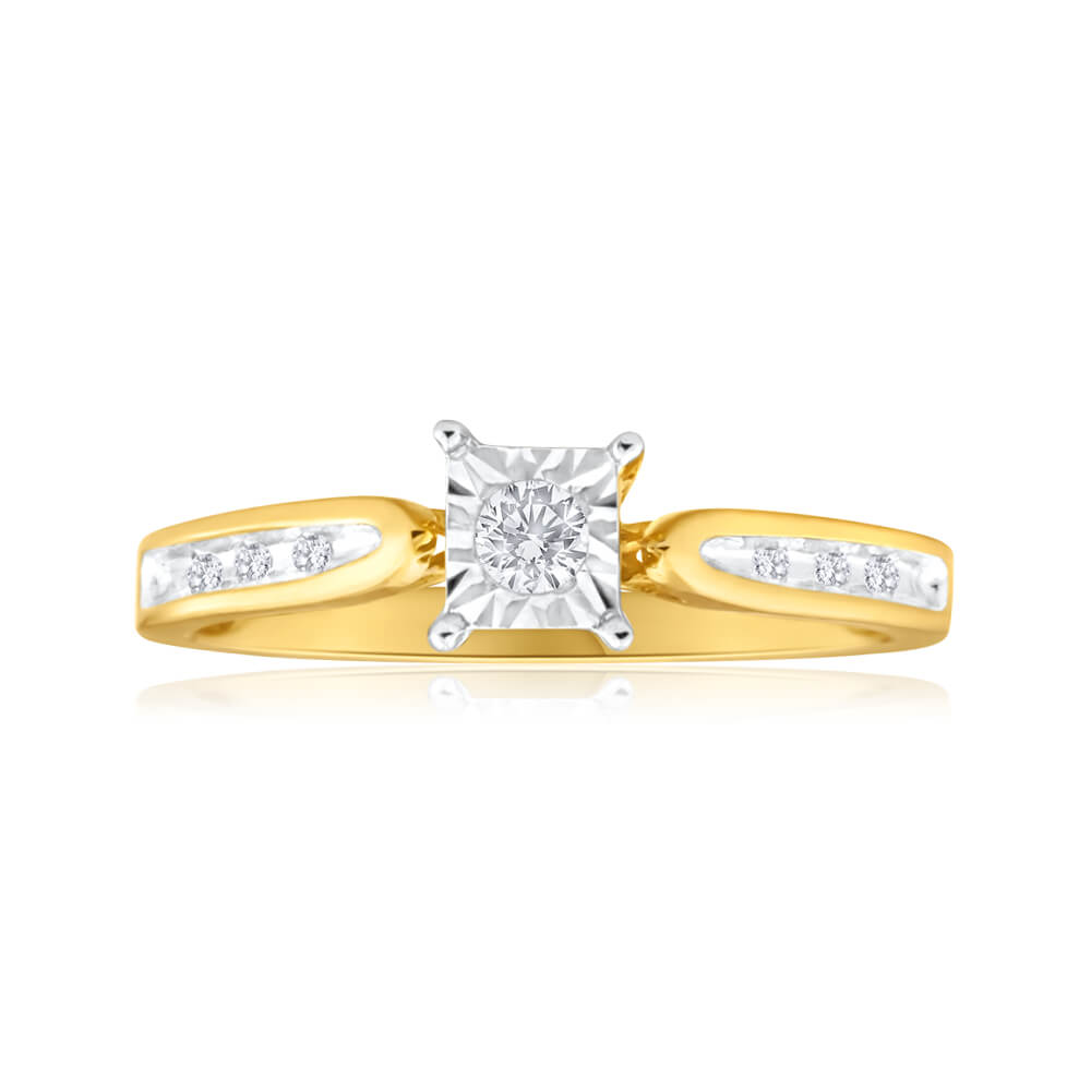 9ct Yellow Gold Ring With 0.15 Carats Of Claw Set Diamonds
