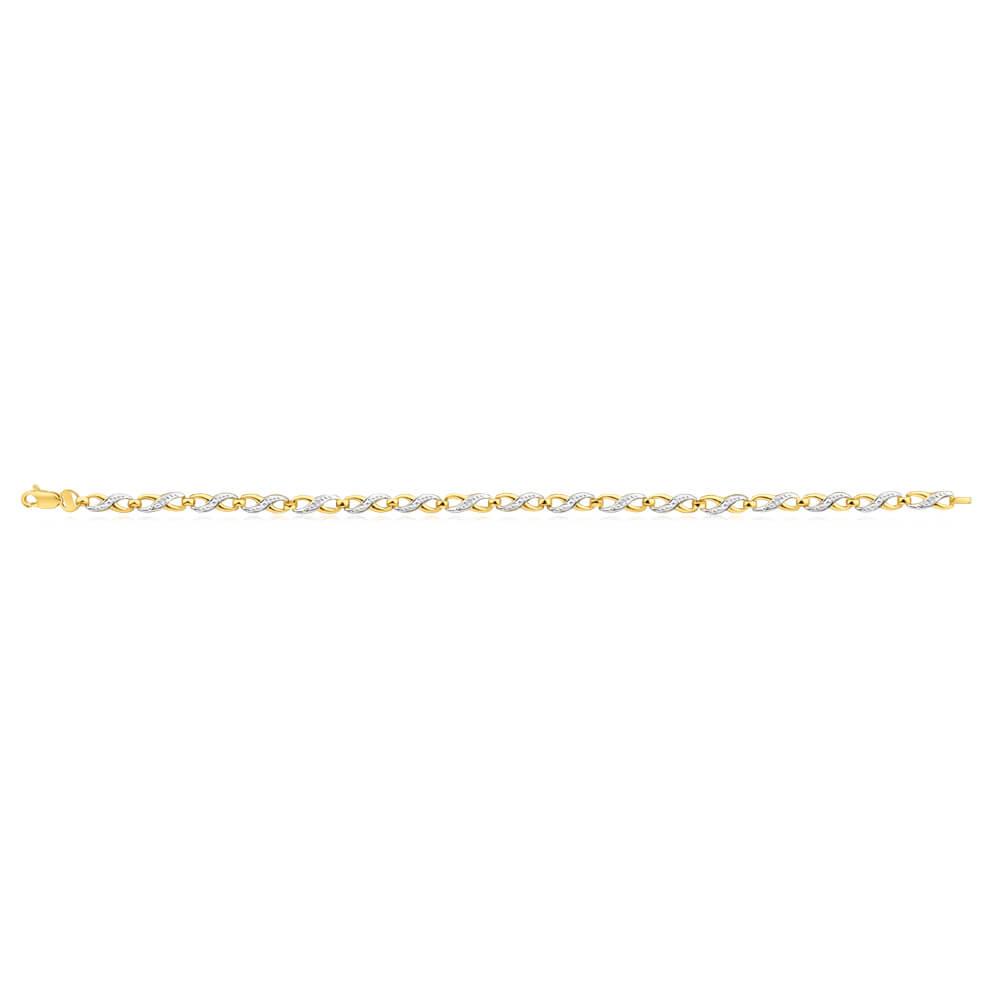 9ct Alluring Yellow Gold Diamond Fancy Bracelet