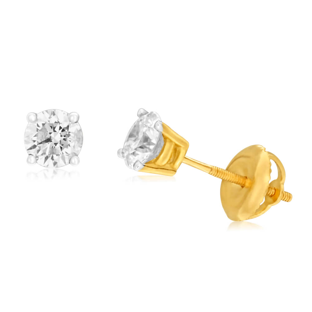 18ct Yellow Gold Stud Earrings With 0.75 Carats Of Diamonds