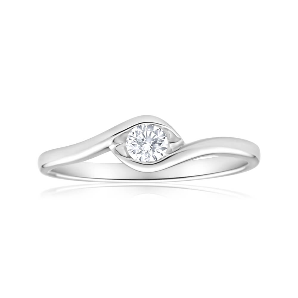 9ct White Gold Solitaire Ring With 0.15 Carat Diamond