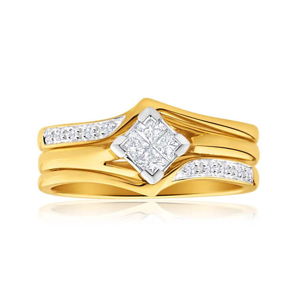 9ct Yellow Gold 3 Ring Bridal Set With 0.25 Carats Of Diamonds
