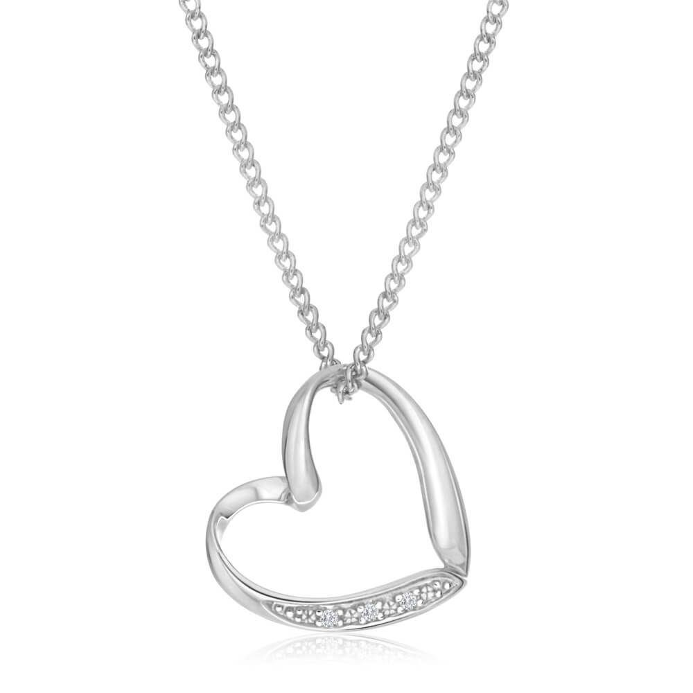 9ct Elegant White Gold Diamond Pendant