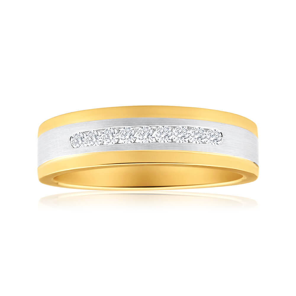 9ct Yellow Gold & White Gold Mens Ring With 0.2 Carats Of Diamonds