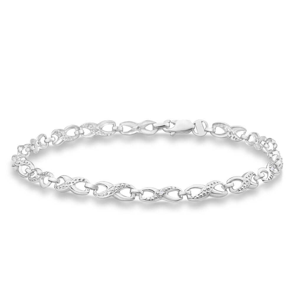 9ct Alluring White Gold Diamond Fancy Bracelet
