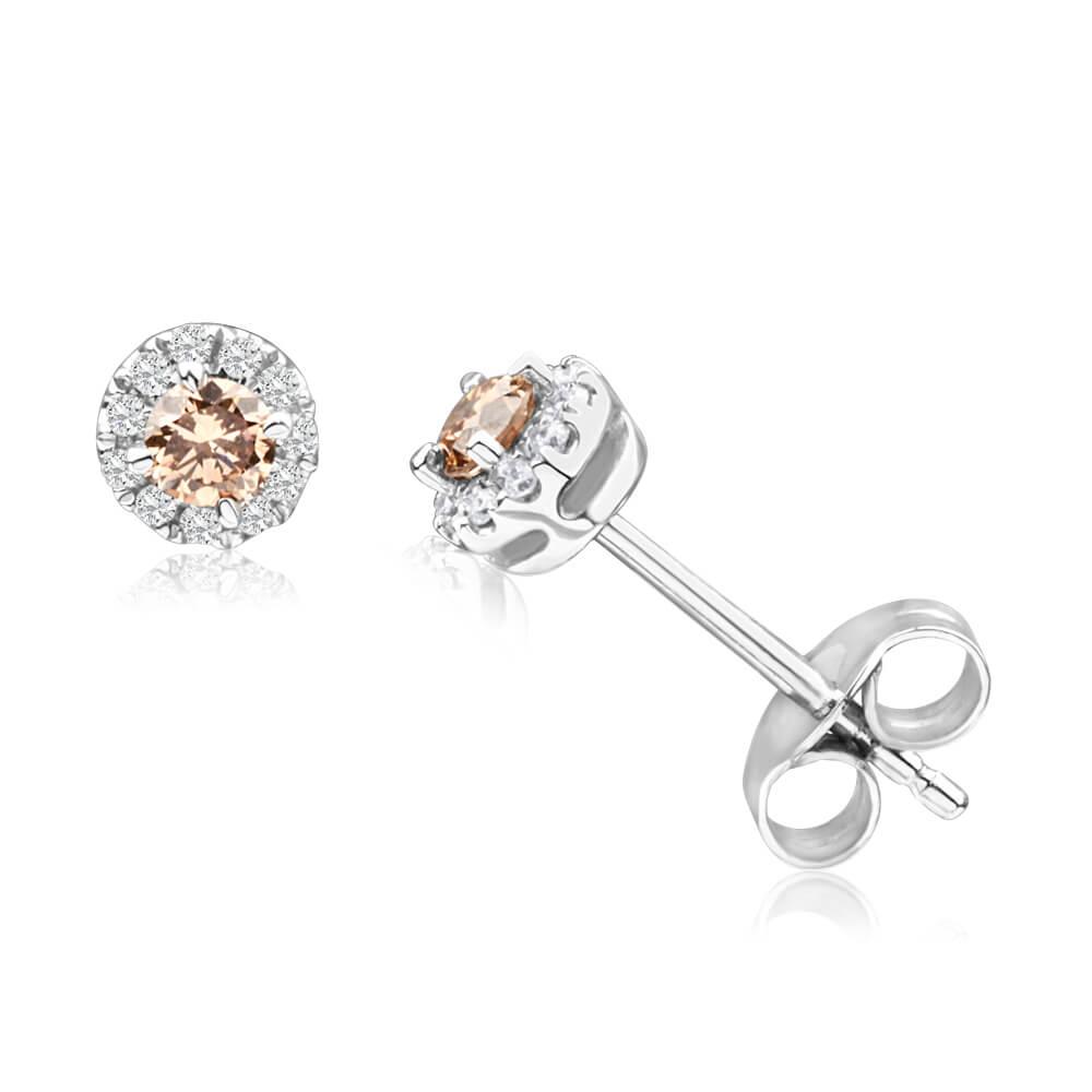 9ct White Gold 1/4 Carat Australian Diamond Earrings with White Diamond Halo CONNIE