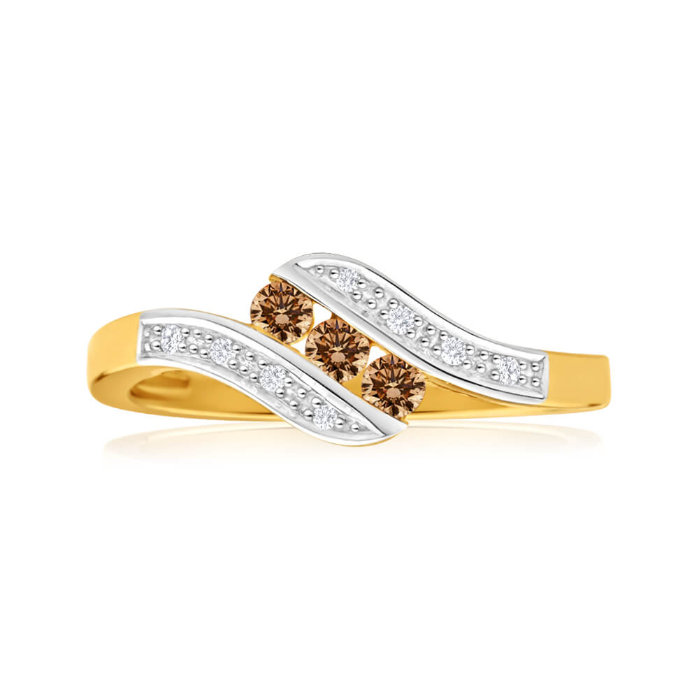 Australian Diamond 9ct Yellow Gold Diamond Trilogy Ring