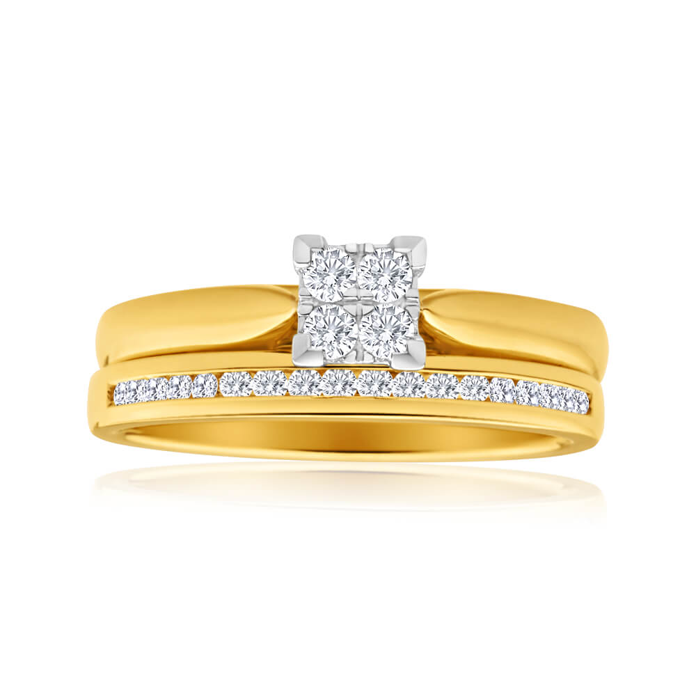 9ct Yellow Gold 2 Ring Bridal Set With 22 Diamonds Totalling 0.25 Carats
