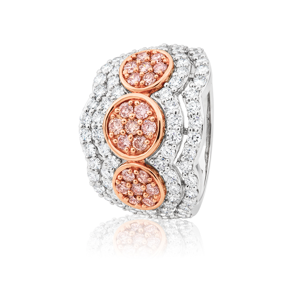 Pink Diamond in 18ct White Gold Dress Ring with a 2.00 Carats of Diamonds