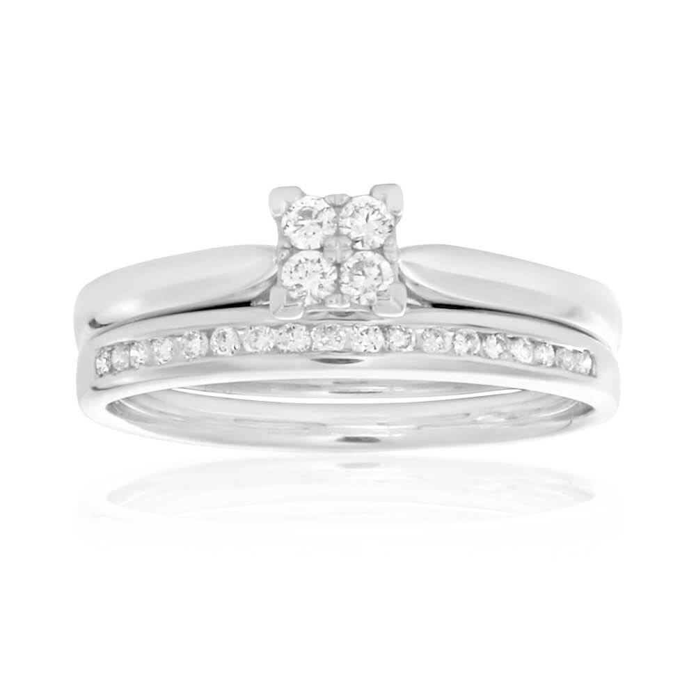 9ct White Gold 2 Ring Bridal Set With 0.25 Carats Of Diamonds