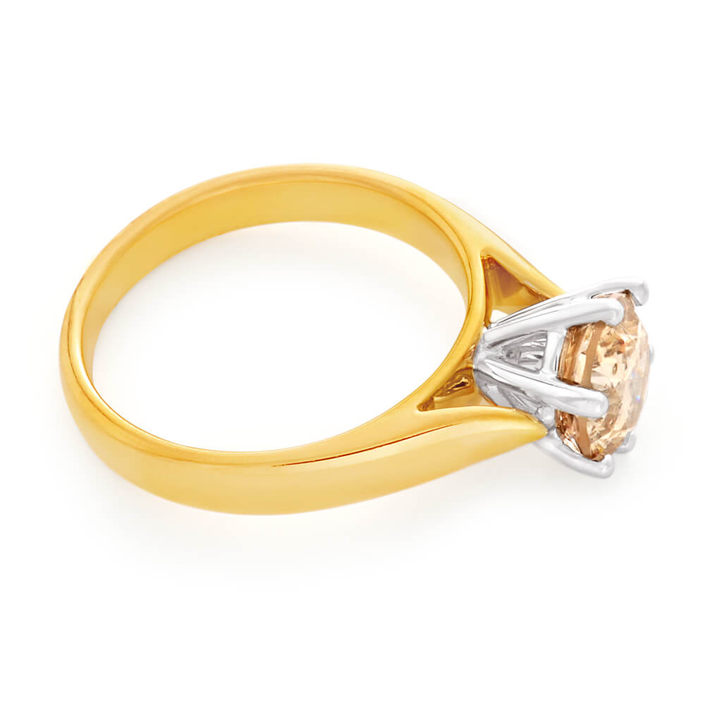 18ct Yellow Gold Solitaire Ring With 1.5 Carat Australian Diamond