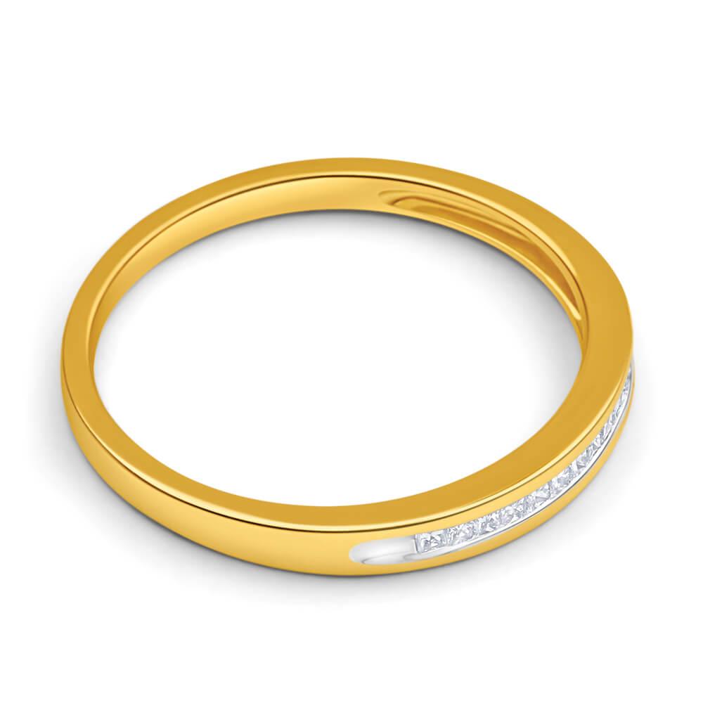 9ct Yellow Gold Diamond Ring Set With 15 Princess Cut Diamonds