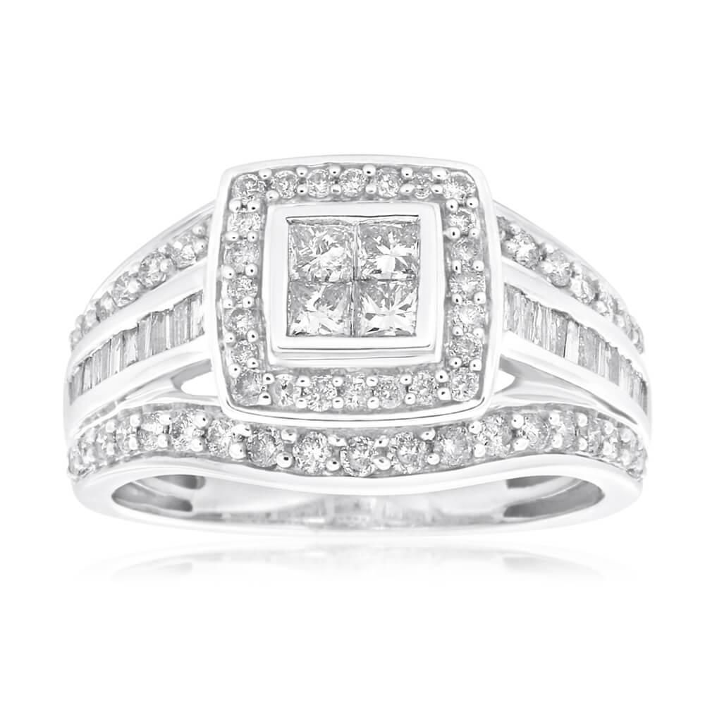 9ct White Gold Diamond Ring Set With 62 Brilliant and 4 Princess Cut Diamonds