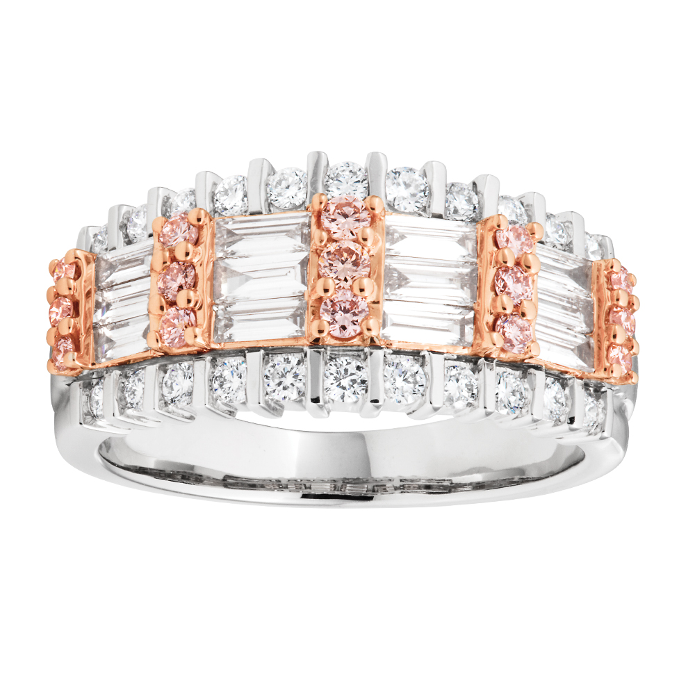 18ct White Gold 1 Carat Diamond Ring with Pink and White Diamonds