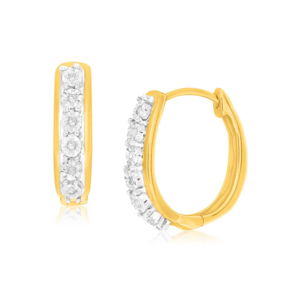 9ct Charming Yellow Gold Diamond Hoop Earrings