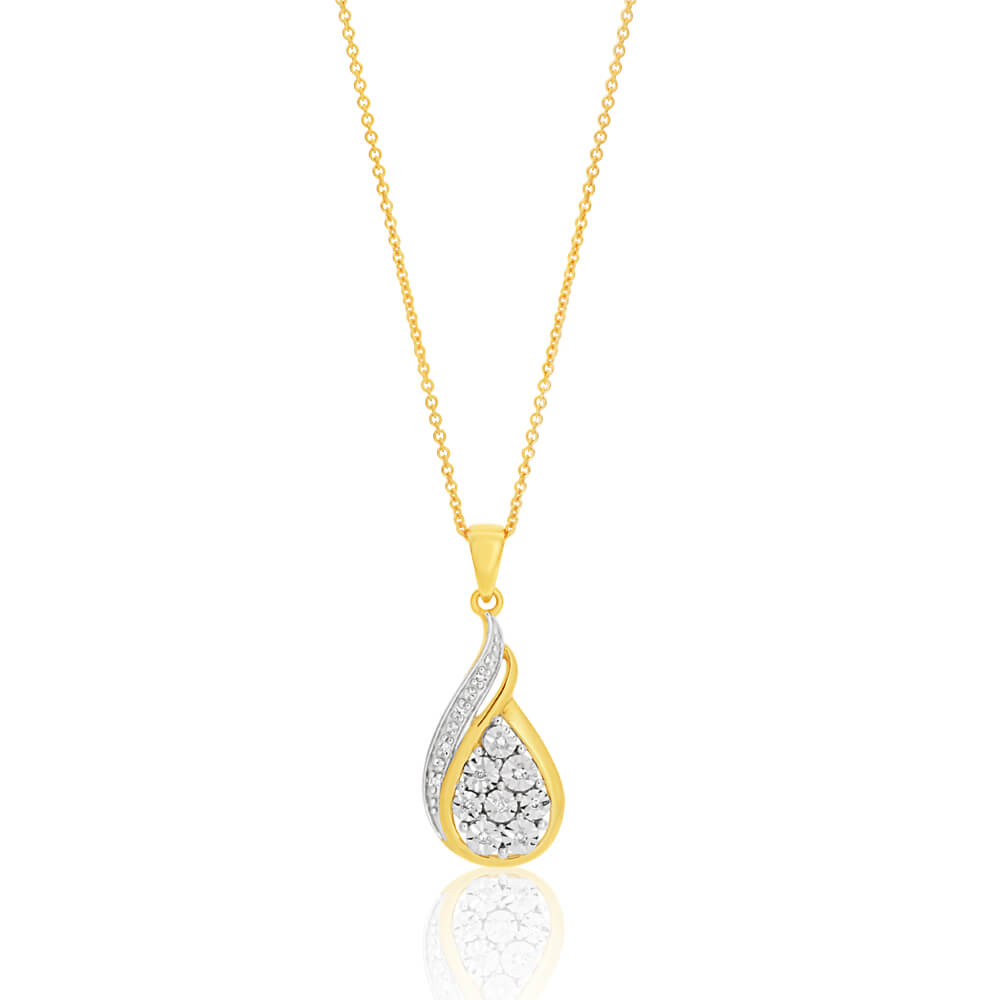 9ct Yellow and White Gold Diamond Pendant with Chain