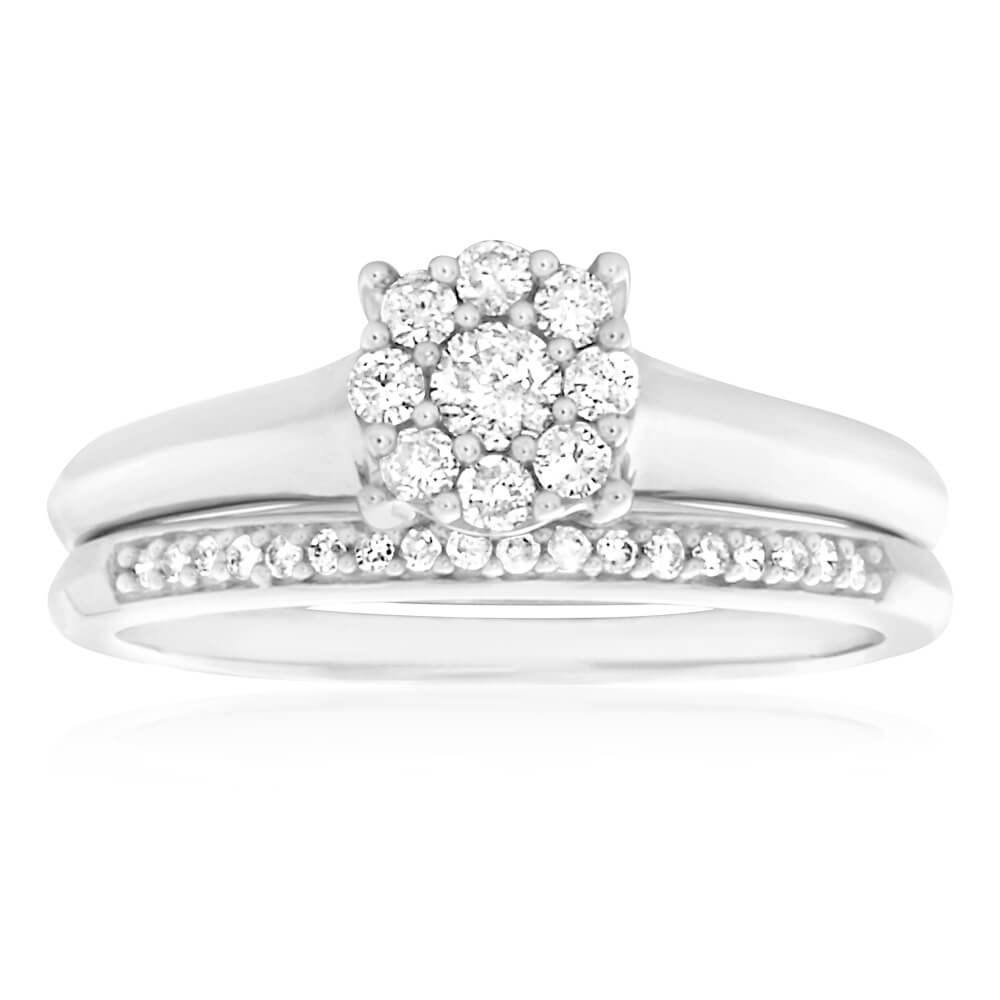 9ct White Gold 2 Ring Bridal Set With 0.3 Carats Of Brilliant Cut Diamonds