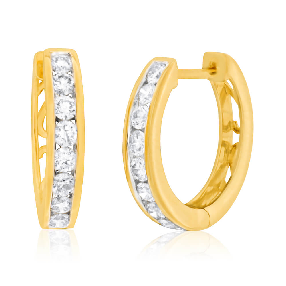 9ct Yellow Gold Diamond Stud Earrings With 1 Carat Of Diamonds