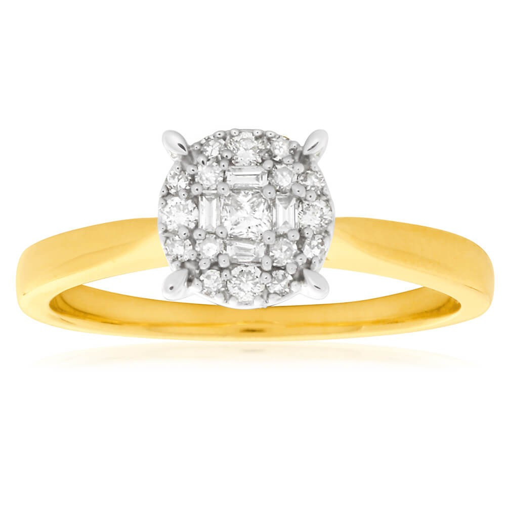 9ct Yellow Gold 1/5 Carat Diamond Ring with Brilliant Princess and Baguette Diamonds