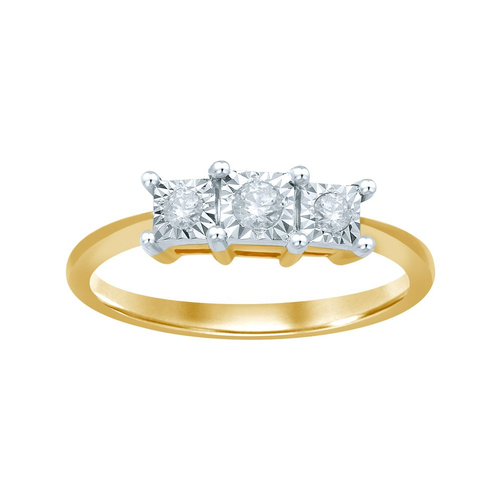 9ct Yellow Gold Diamond Trilogy Ring with 3 Brilliant Diamonds in Disc Setting