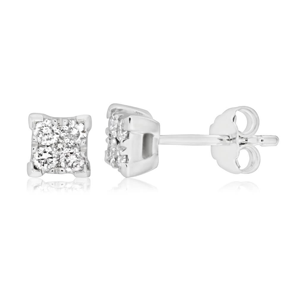 9ct White Gold 1/4 Carat Diamond Stud Earrings set with 10 Brilliant Diamonds