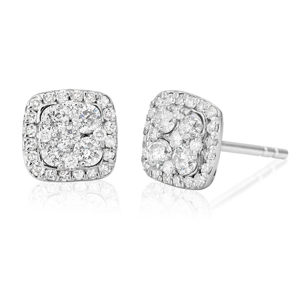 9ct White Gold Radiant Diamond Stud Earrings