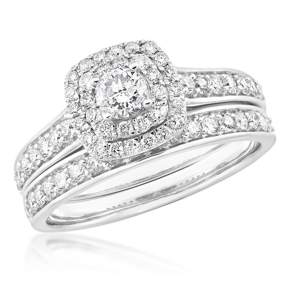 9ct White Gold 2 Ring Bridal Set With 65 Diamonds Totalling 1 Carat