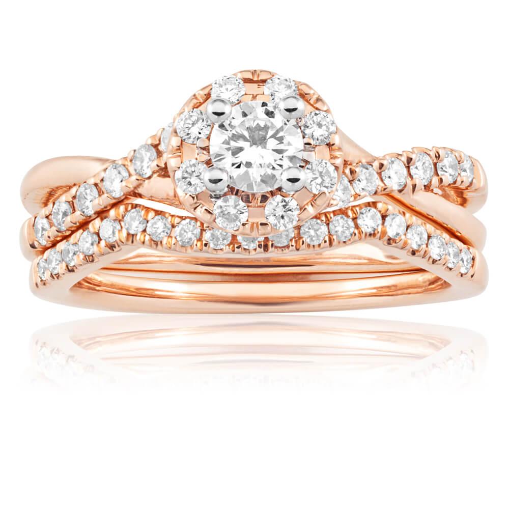 Blissful Bride 14ct Rose Gold 0.65 Carat Diamond Swirl Split Shank Bridal Set