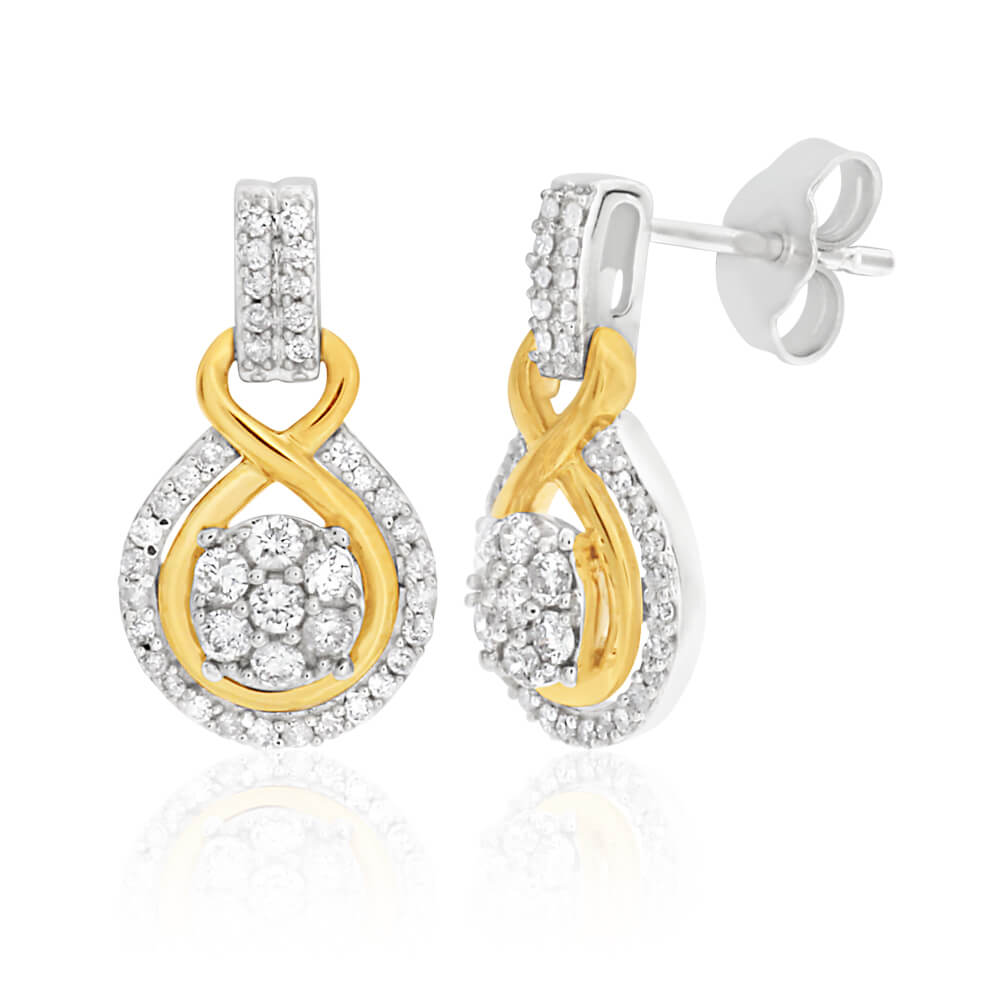 9ct Elegant White Gold Diamond Drop Earrings