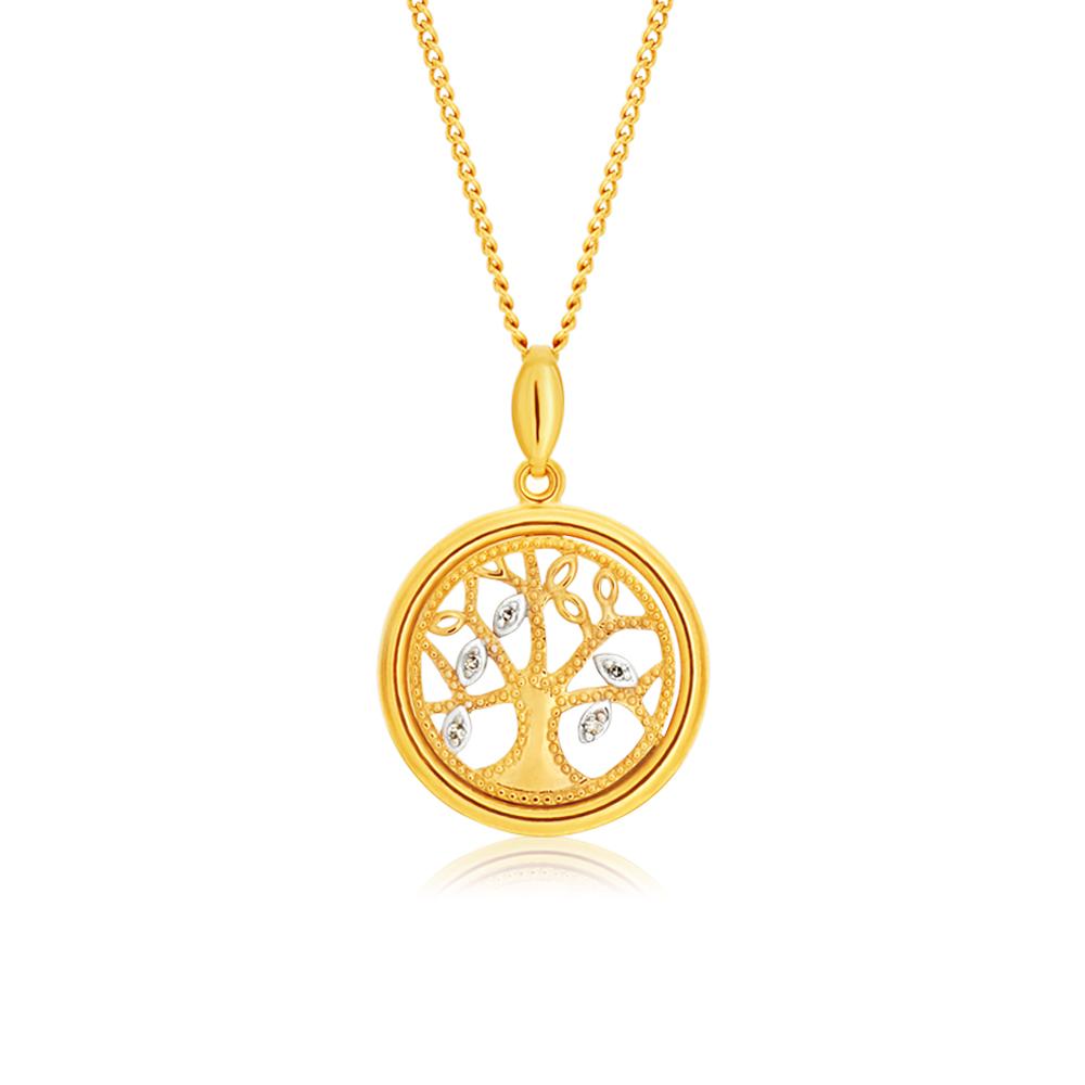 "9ct Yellow Gold ""Tree of Life"" Diamond Pendant Set with 5 Brilliant Diamonds"