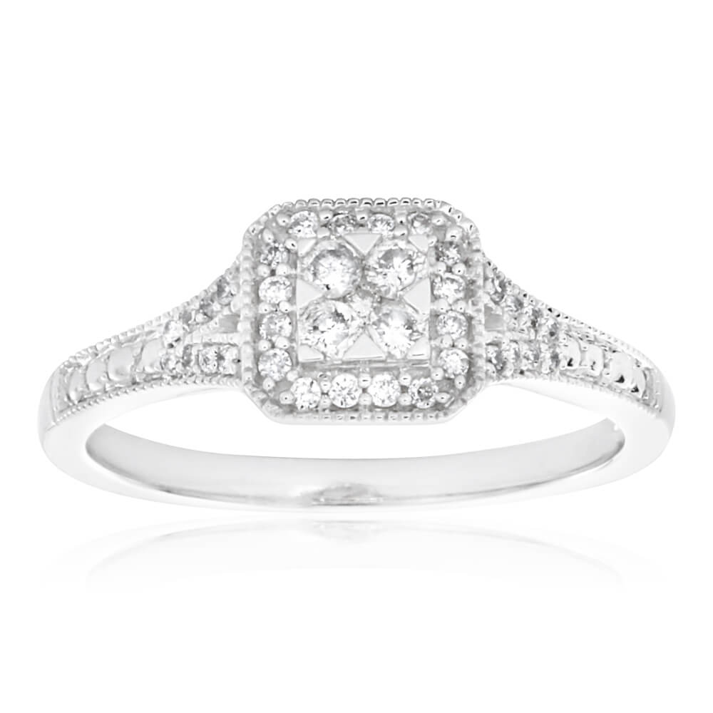 9ct White Gold Diamond Ring Set With 37 Beautiful Diamonds