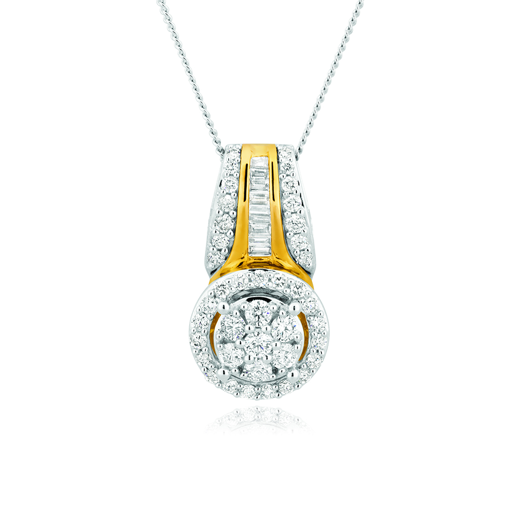 9ct Yellow Gold & White Gold Diamond Pendant With Chain