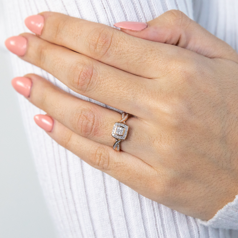 9ct Rose Gold Ring With 21 Brilliant Cut Diamonds