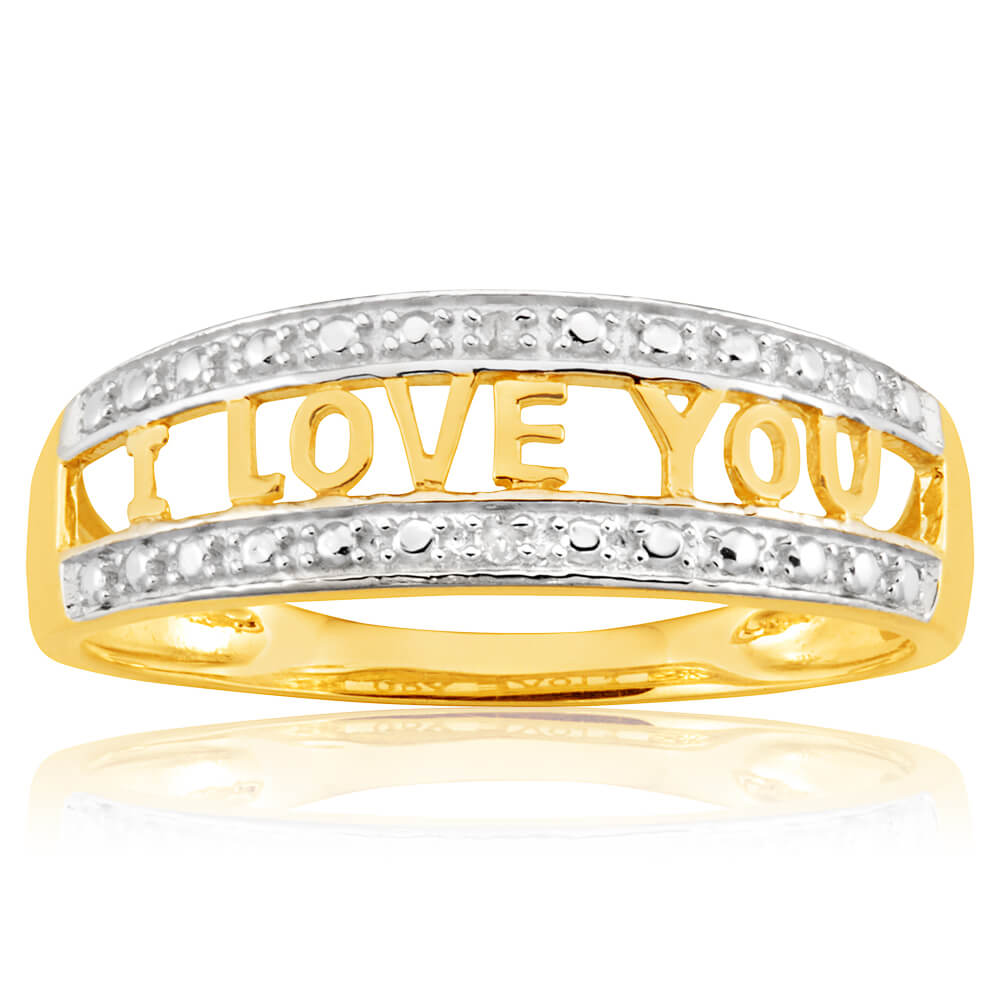 "9ct Yellow Gold Diamond ""I LOVE YOU"" Ring"