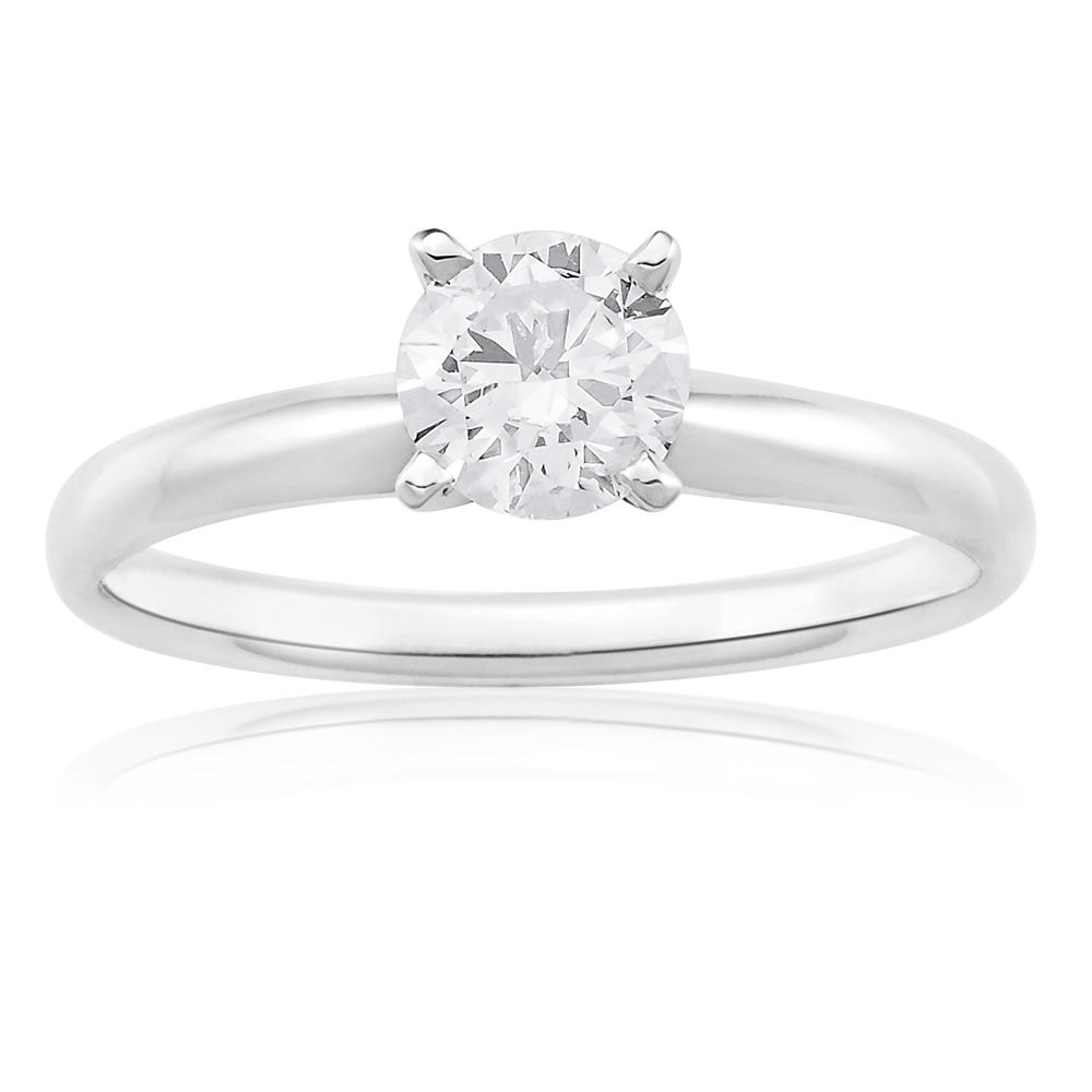 14ct White Gold Solitaire Ring With 70 Point Brilliant Cut Diamond