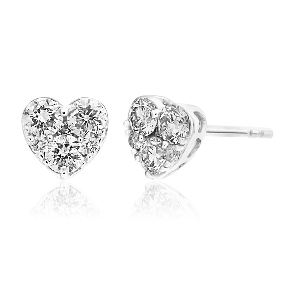 9ct White Gold Luxurious 1/2 Carat Diamond Heart Stud Earrings