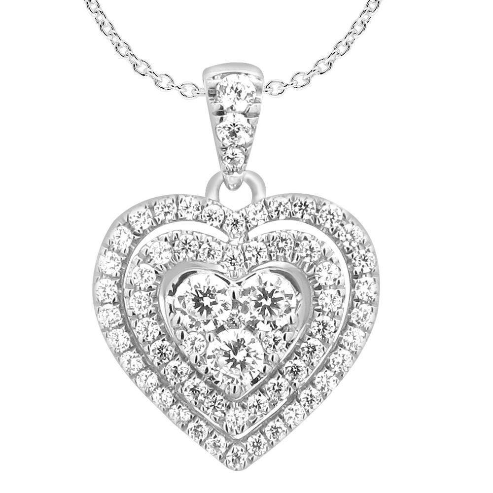 9ct White Gold Divine 1 Carat Diamond Heart Pendant on 45cm Gold Chain